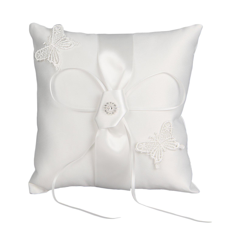 Somnr® Elegant Scattered Seed Pearl Ring Bearer Pillow for Wedding Party Prom (White)