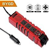 BYGD カーインバーター150W コンバーター 車載充電器 シガーライターソケットACコンセント3口 USB給電2口 DC12VをAC110Vに変換 2.4A出力 コンパクト