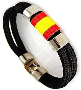 AKIEE Pulsera Espana Hombre o Mujer Bandera España Con Cuerda Nautica (Black): Amazon.es: Joyería