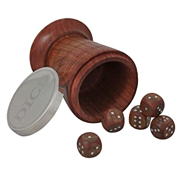 ShalinIndia Handmade Wooden Dice Shaker Set - Includes Five Wooden Dice - Dice Game Set for Families