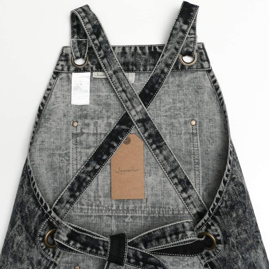 Denim Apron With Pockets for Women Women Hair Stylist Jeanerlor Black - Special Washing Style Perfect Gift Adjustable S to L