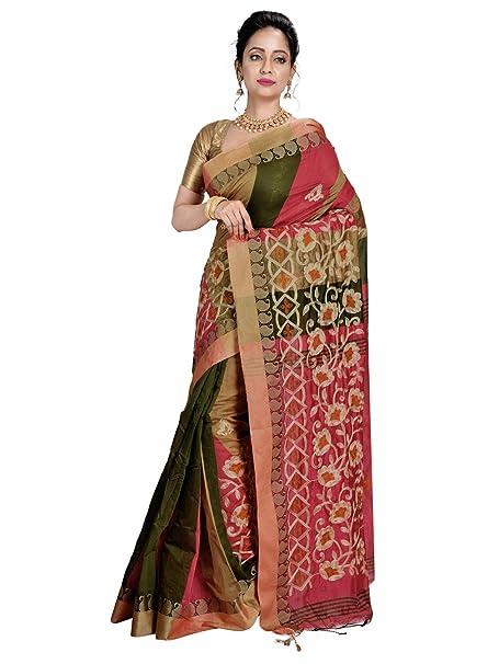 61fa11af61f28 Avik Creations Women s Bengal Tant Handloom Art Boutique Silk Cotton  Bengali Saree