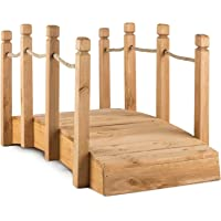Blumfeldt Pont de jardin décoratif 58x58x122 cm (câblage bois massif, traitement anti-intempéries, rambarde en cordage de 1,5 cm, idéal pour les étangs)
