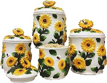 Ceramic Condiment Jar and Spoon Set Sunflower Shape