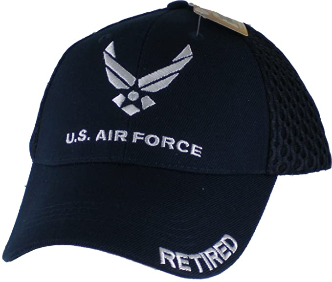 bd1f3fc3722ad Amazon.com: U.S. Air Force Retired Mesh Cap. Navy Blue: Clothing