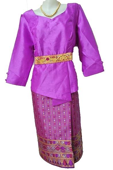 Purple Lao Laos Silk 3 4 Sleeve Blouse Tops Sz 46 Synthetic Sinh