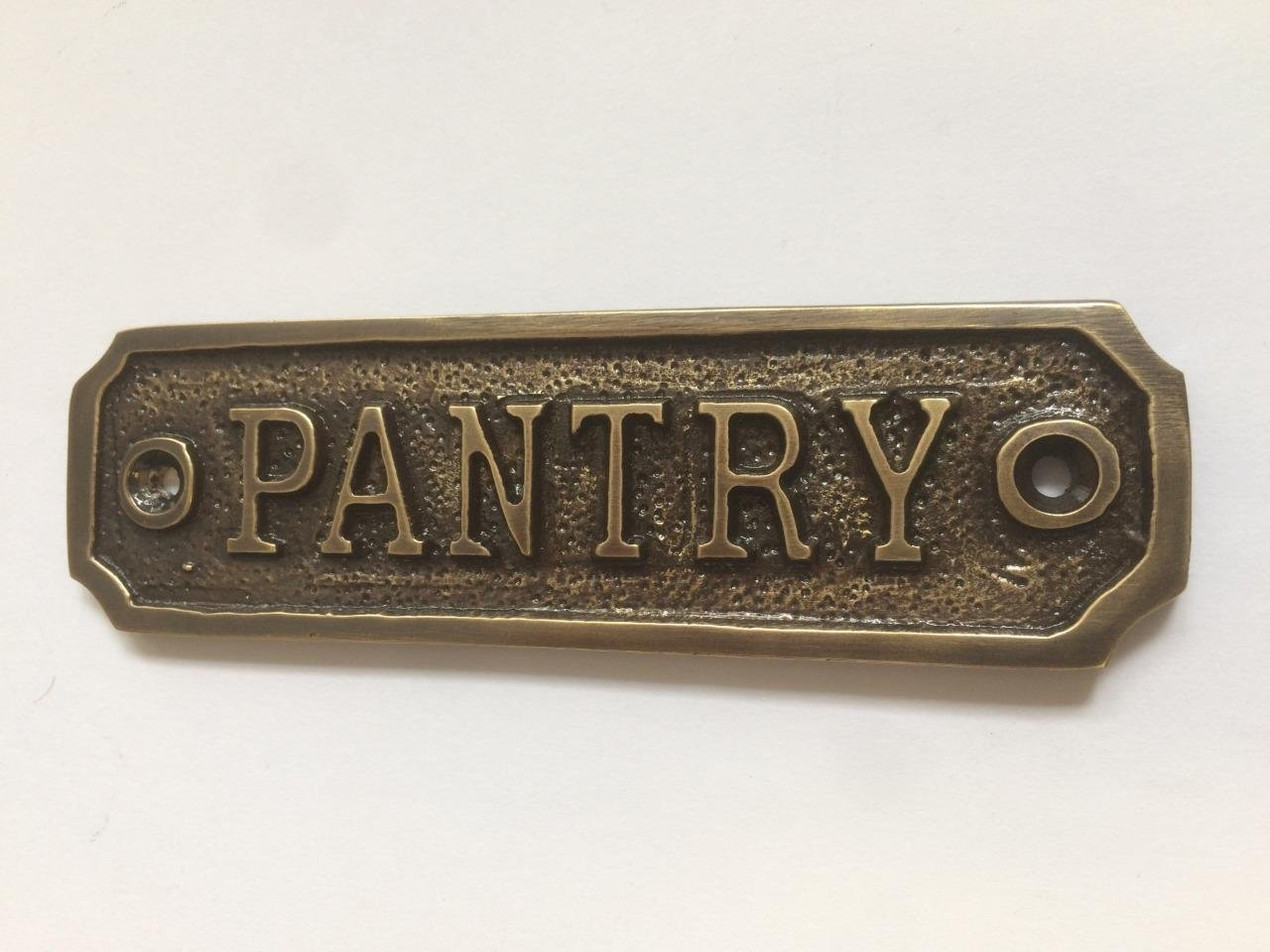 Chattels PANTRY Door Sign Solid Brass with a Antique Bronze Finish 10.5 x 3cm comes with Screws DSN-14-AB KBIJ