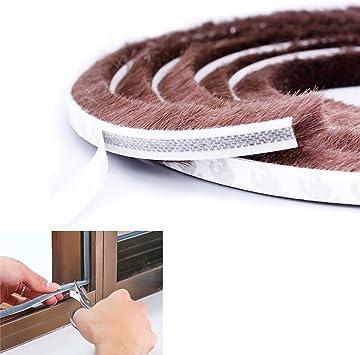 Cepillo Pelo Adhesivo resistente al viento a prueba de intemperie para desmontar ventana puerta sellado tira de cepillo 5 m de longitud, marrón: Amazon.es: Bricolaje y herramientas