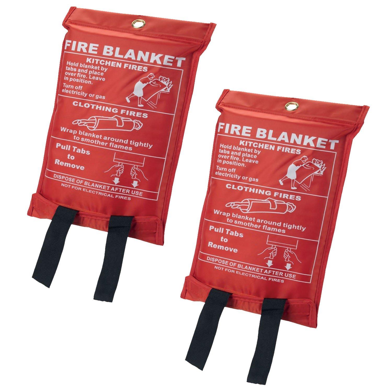 Feuerlöschdecke von Bond Hardware®, in Verpackung, schnell herausnehmbar, 1 m x 1 m, ideal für Haus und Büro