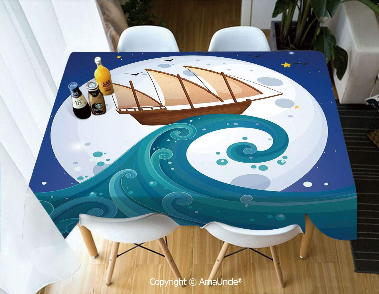 SUPFENG Moon Printed Rectangle Washable Picnic Table Cover Old Ship with Tempest Riding The Waves Full Moon and Stars Marine Cartoon Style Decorative for Dining Room Picnic Party