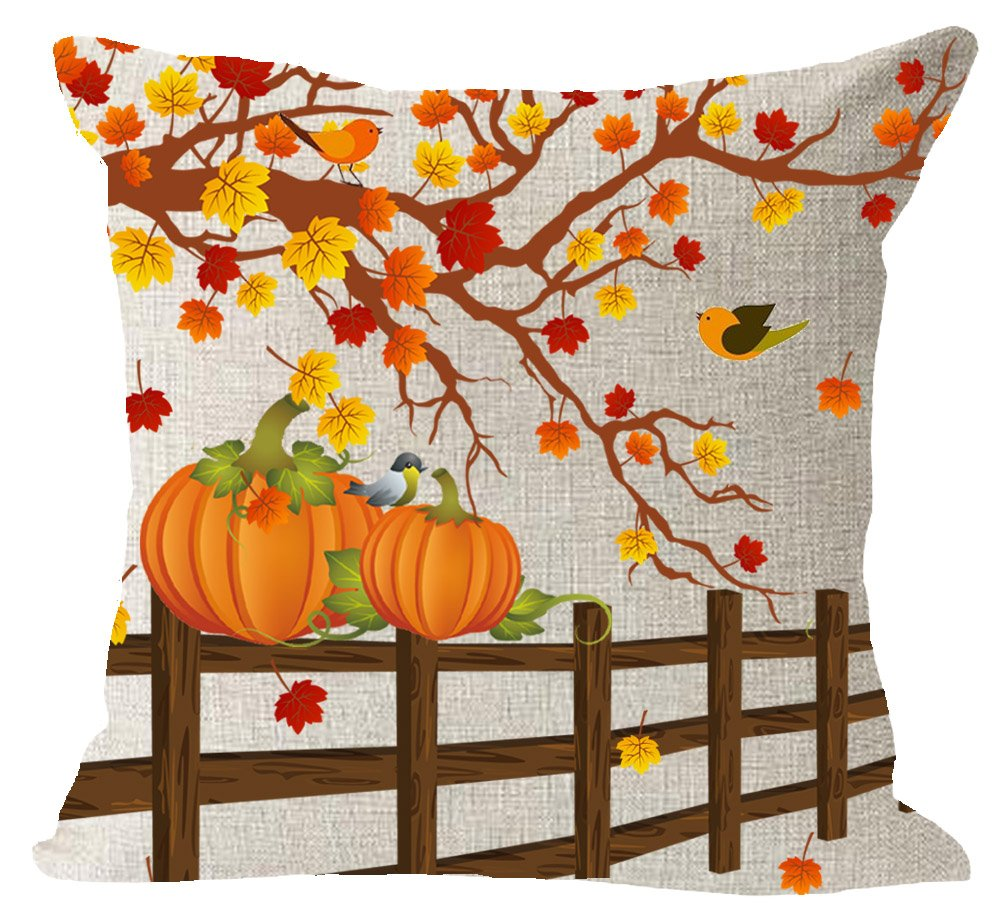 "Happy Fall Y'all Harvest Autumn Pumpkin Tree Maple Leaves Animal Birds Cotton Linen Square Throw Waist Pillow Case Decorative Cushion Cover Pillowcase Sofa 18""x 18"" inches"