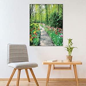Country Decor Removable Wall Mural, Tulips in Keukenhof Gardens Path Along Colorful Flowers Nature Picture Wall Painting Picture for Bedroom Hallway, 20