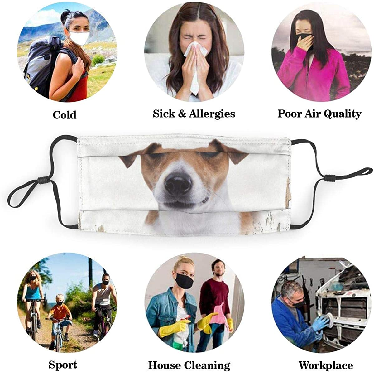 Unisex/Nose/Clip/Face/Mouth/Cover/3D/Print,Beware of Jack Russell Dog Signs Dustproof Reusable Cloth Mouth Face/Bandanas/For Men/Women/Teens