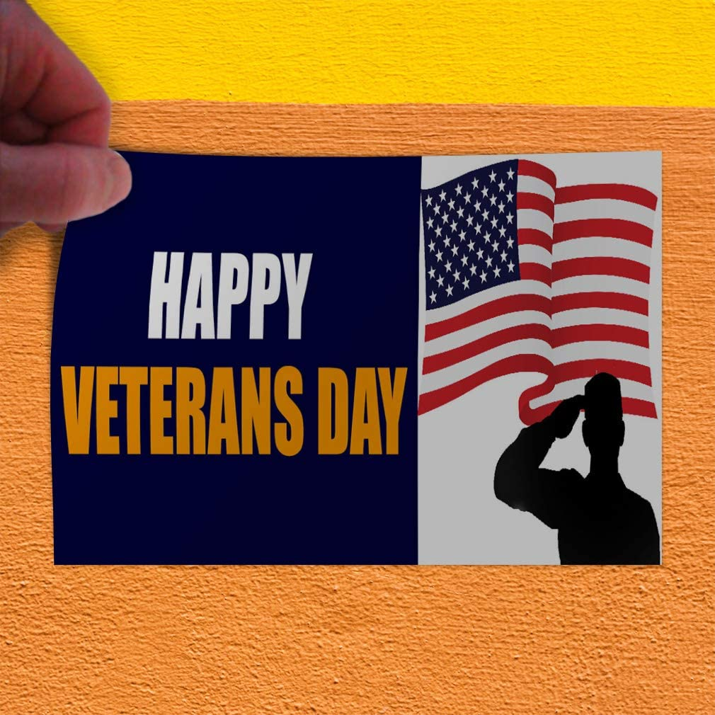 Decal Sticker Multiple Sizes Happy Veterans Day Holidays and Occasions Happy Veterans Day Outdoor Store Sign Blue Set of 5 27inx18in