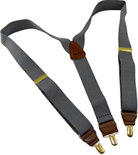 """product image for Holdup Suspender Company Slate Grey Men's Y-back Clip-on Suspenders in 1 1/2"""" width featuring Patented No-slip Gold-Tone Clips"""
