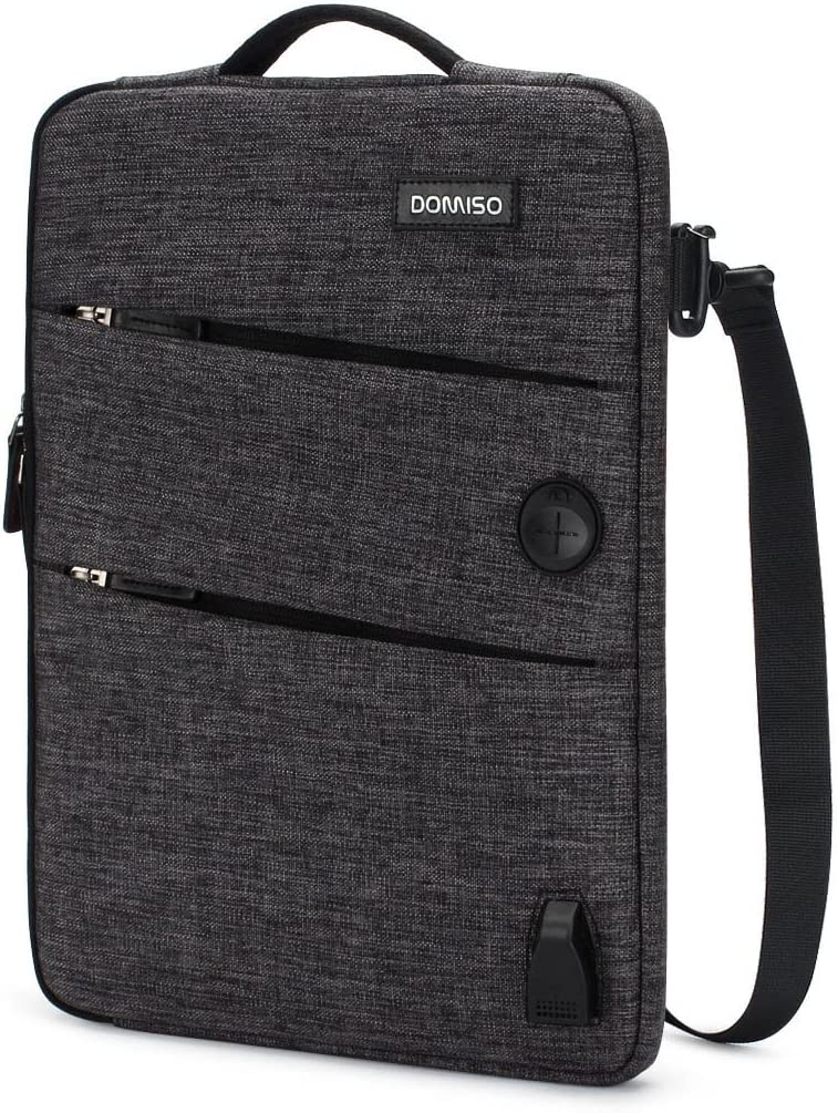 DOMISO 14 Inch Waterproof Laptop Sleeve Canvas with USB Charging Port Headphone Hole for 14