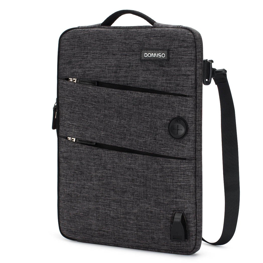 DOMISO 14 Inch Waterproof Laptop Sleeve Canvas with USB Charging Port Headphone Hole for 14'' Laptops/Apple/Acer Chromebook 14/HP Pavilion 14 Stream 14/Lenovo/Dell/ASUS/MSI, Black by DOMISO (Image #1)