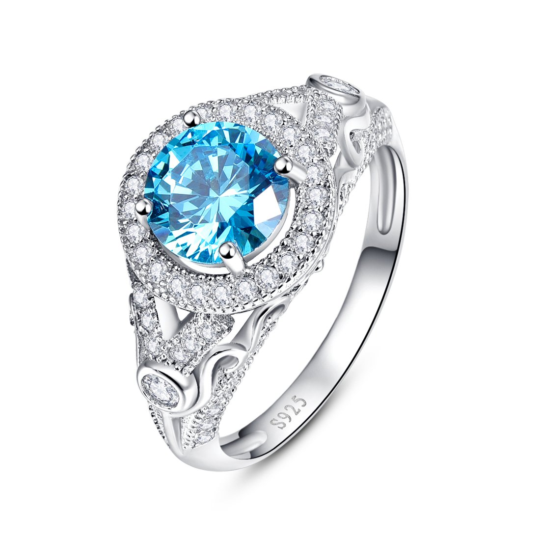 Merthus Womens 925 Sterling Silver Created Blue Topaz Halo Engagement Ring