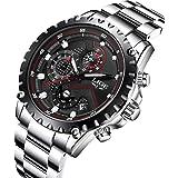 LIGE メンズ腕時計 多機能 クオーツ 防水ウォッチ 男性 クロノグラフ 日付表示 アナログ カジュアル ファッション 時計メンズ