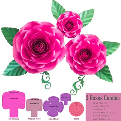 Amazon Com 3 Sizes Large Medium Small Rose Paper Flower Template