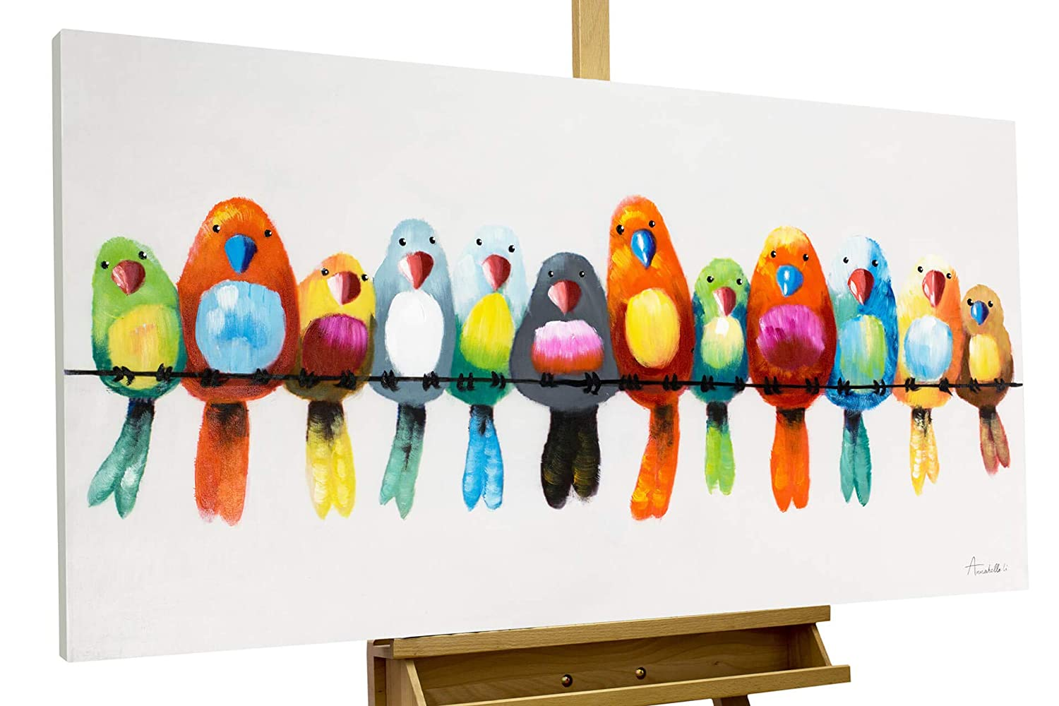 UAC WALL ARTS Modern Animal Canvas Wall Art – A Family of Lovely Birds Oil Paintings with Stretched Framed Canvas Art for Kids Wall Decor Room Decoration