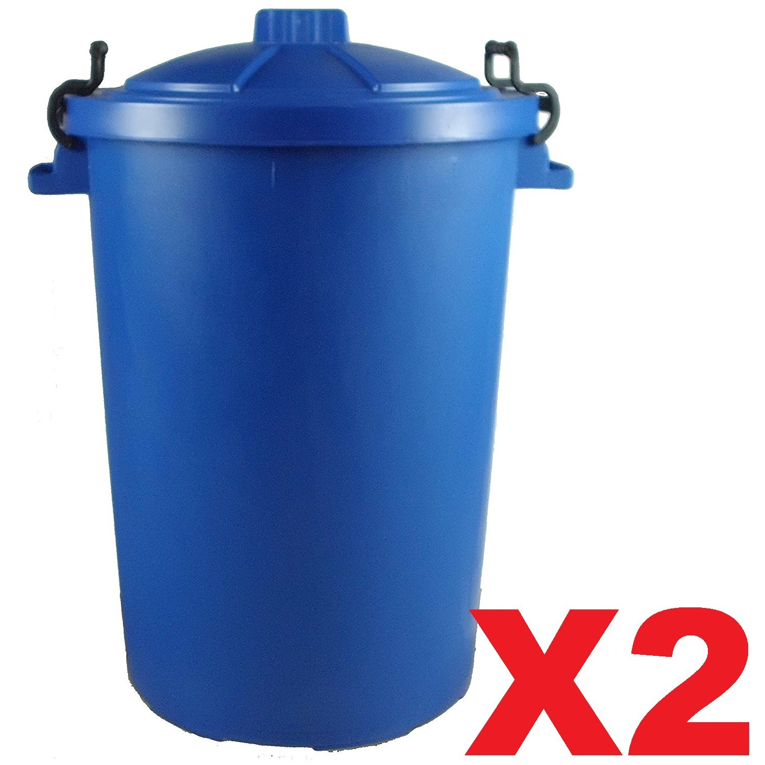 2 x BLUE 85 Litre 85L Extra Large Colour Plastic Dustbin Garden Bin Clip on Locking Lid Heavy Duty for Rubbish Recycle Waste Animal Feed Storage Unit UK