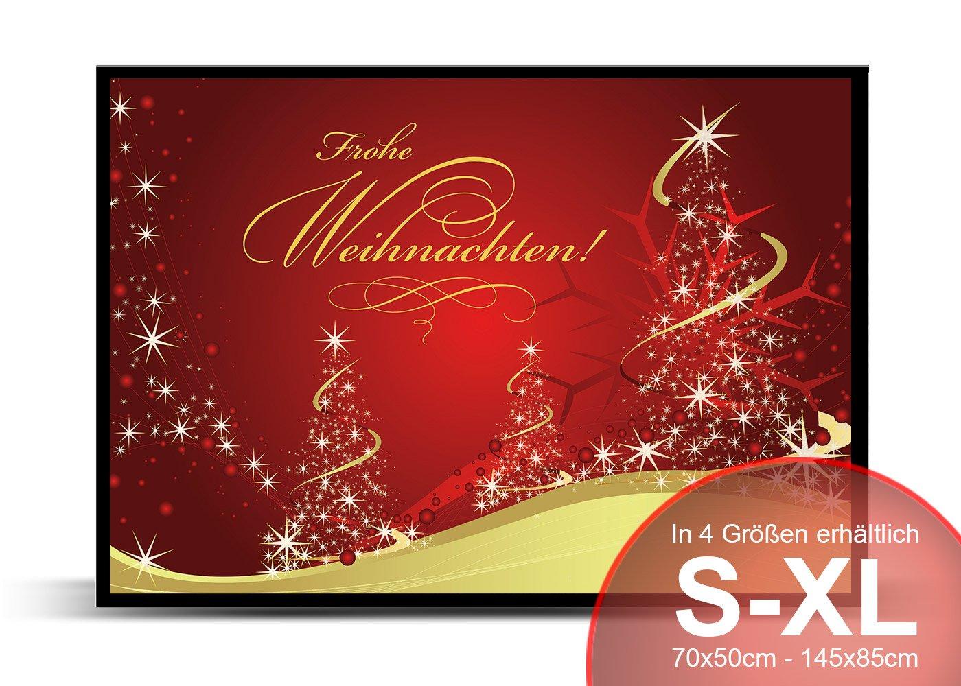 Printalio Frohe Weihnachten Rot Gold - Schmutzmatte Bodenvorleger Fußmatte Türmatte Abtreter Abstreifer gummierter Rand Rutschfest Waschbar Individuell   115 cm x 85 cm