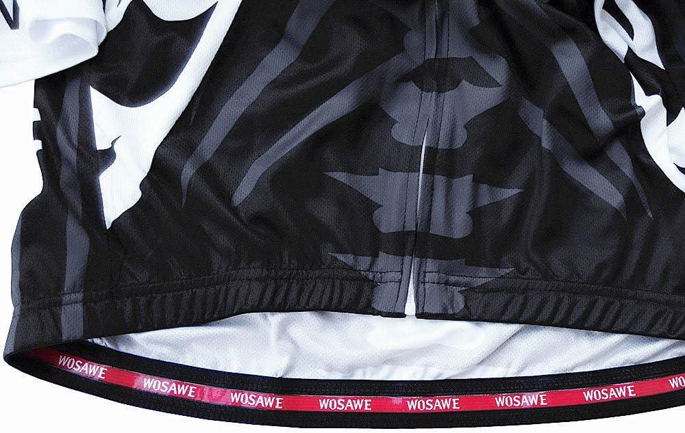 3D Imbottiti Pantaloncini da Ciclista WOSAWE Abbigliamento Ciclismo da Uomo Asciutto Rapido Respirabile Maglia Manica Corta