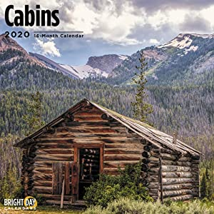2020 Cabins Wall Calendar by Bright Day, 16 Month 12 x 12 Inch, Country Side Camping