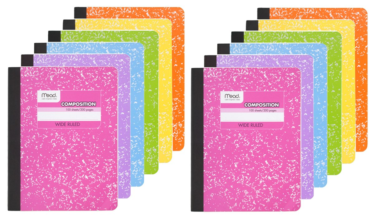 Mead Composition Book, 12 Pack of Wide Ruled Composition Notebooks, Wide Rule paper, 100 sheets (200 Pages) , Pastel Color Notebook by Mead