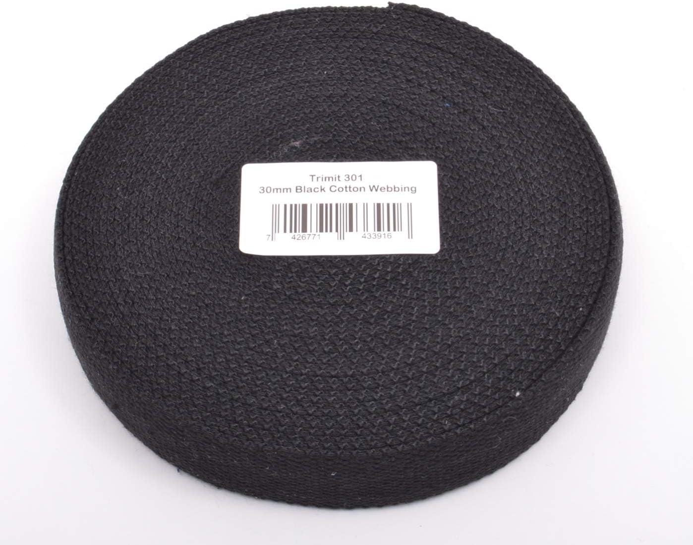 Trimit 10 m Rollo de 30 mm Negro Correas de algodón: Amazon.es: Hogar