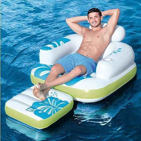 LDIUY Agua Silla Inflable Flotante Fila Isla Sombrilla Barco Cama ...