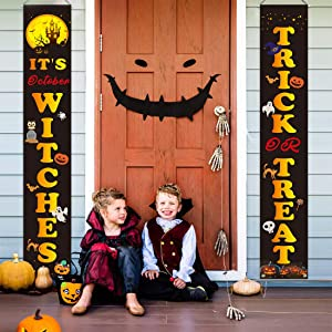 Halloween Trick or Treat Banner, It's October Witches Halloween Decorations Outdoor Hanging Porch Sign Banner for Halloween Gate Garden Home Party Decorations