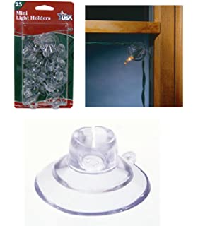 25ct mini christmas light holder suction cup clips - Christmas Light Holders