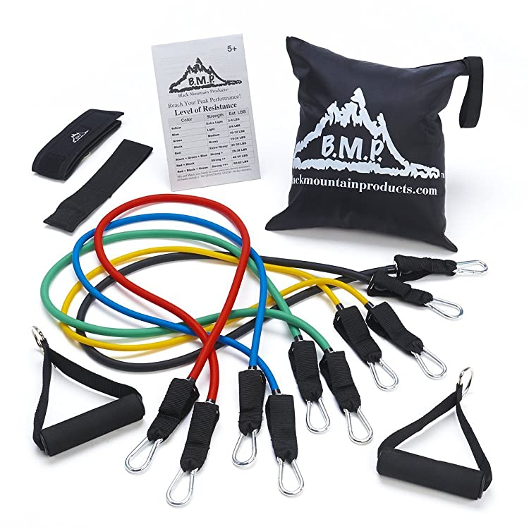 Black Mountain Resistance Band Set With Ankle Strap, Door Anchor, Exercise Chart, And Carrying Case