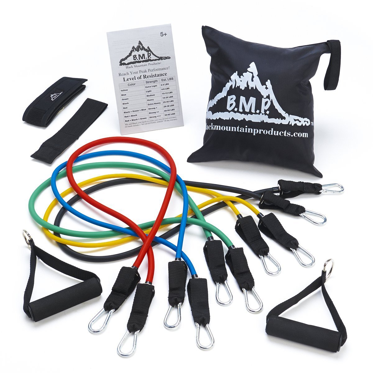 6ba5c0e139f Amazon.com   Black Mountain Products Resistance Band Set with Door Anchor