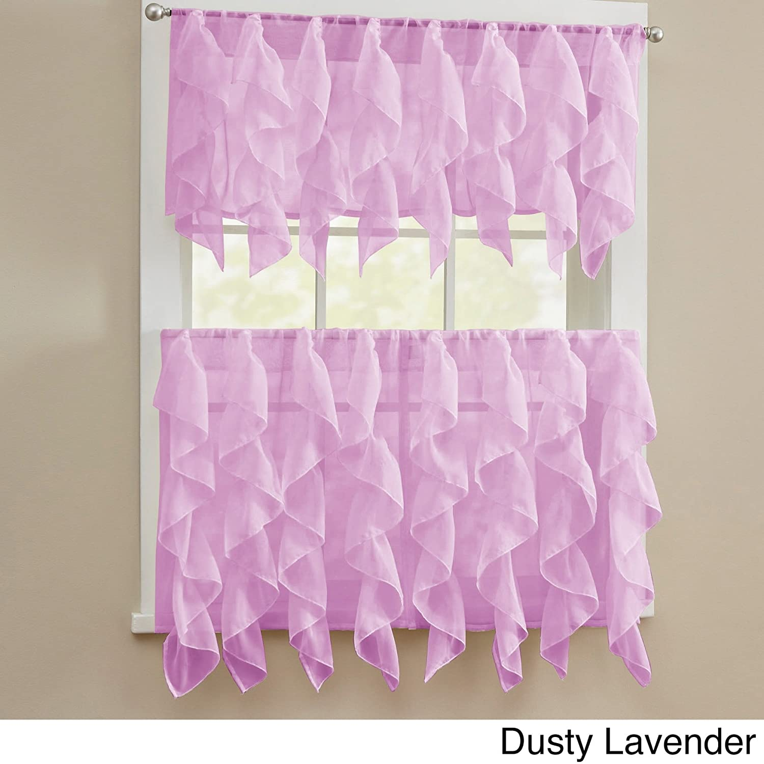 bed bath n more Chic Sheer Voile Vertical Ruffled Tier Window Curtain Valance or Tier Dusty Lavender 56 x 24
