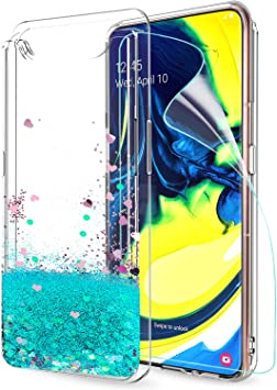 LeYi Funda Samsung Galaxy A80 Silicona Purpurina Carcasa con HD ...
