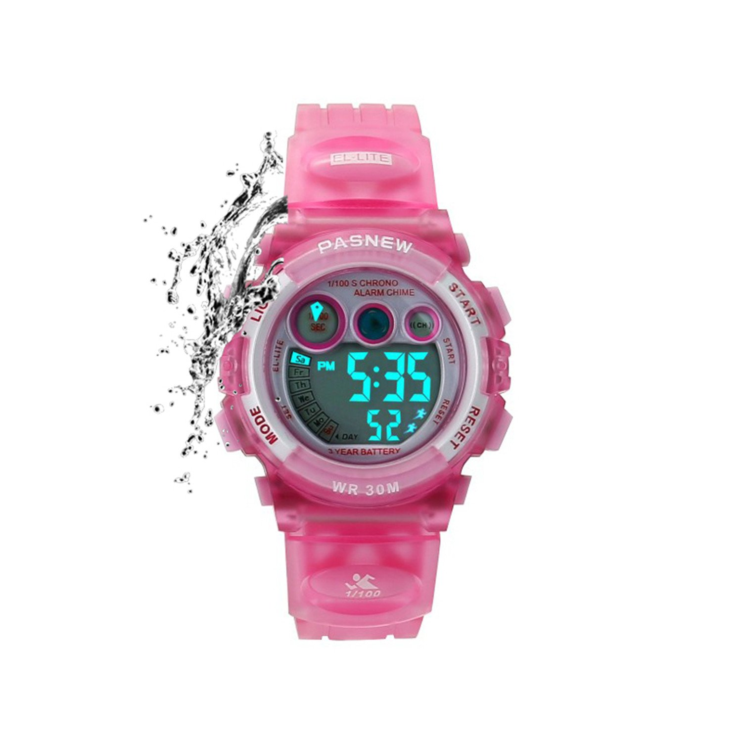Kids Sports Watches Children for Girls Boys Waterproof Military Dual Display LED Kids Watch Pink