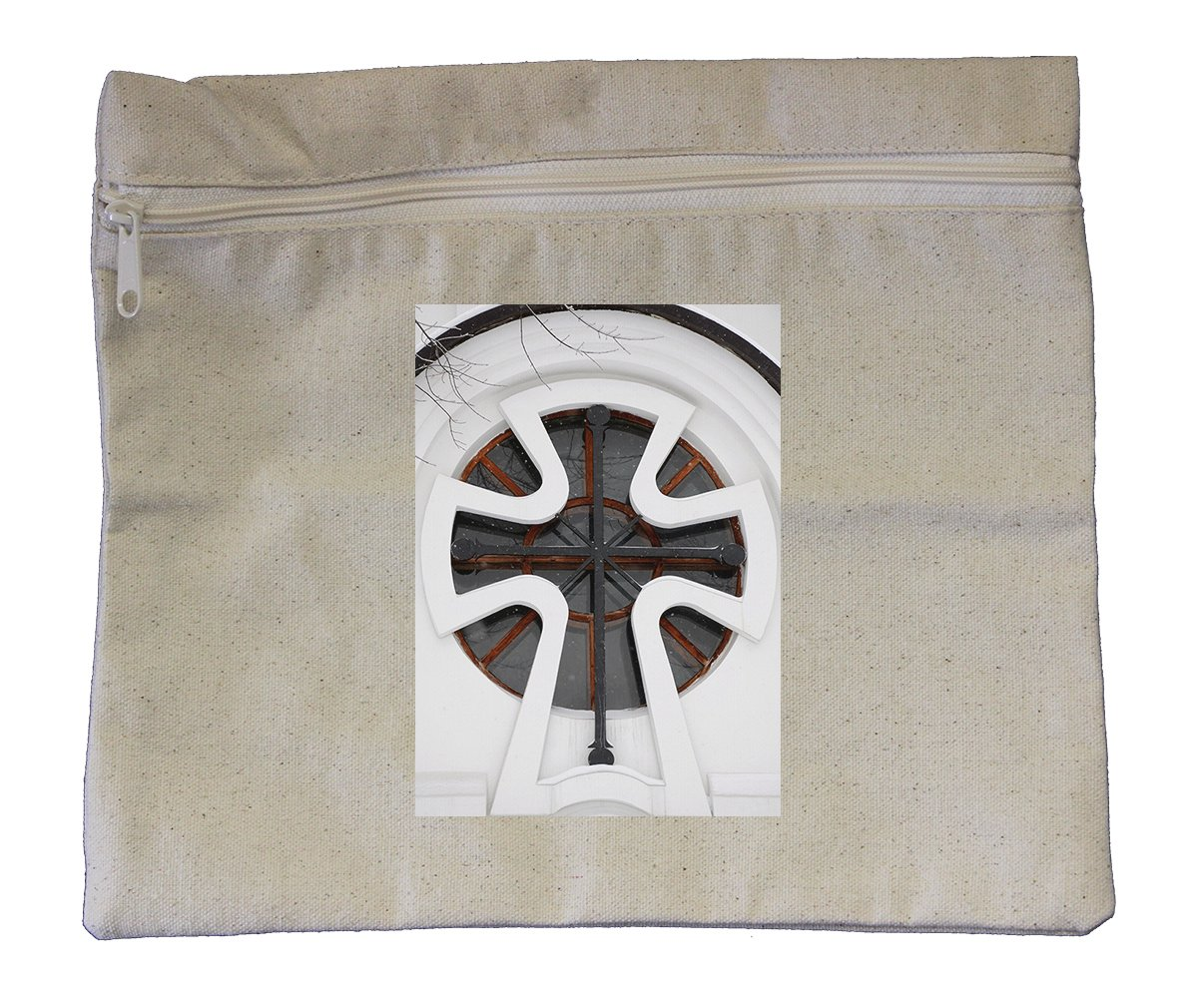 Canvas Zipper Pouch Tote Bag 10''X12'' White Chapel Window Style In Print