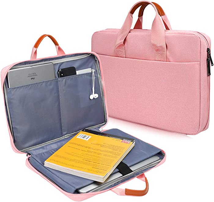 CaseBuy 180° freely Open Laptop Briefcase Bag for Acer Aspire 5 Slim, HP Pavilion 15.6, ASUS ZenBook 15, HP Chromebook 15, Lenovo IdeaPad 15.6, MSI, 15.6 Protective Notebook Bag with Organize Pocket