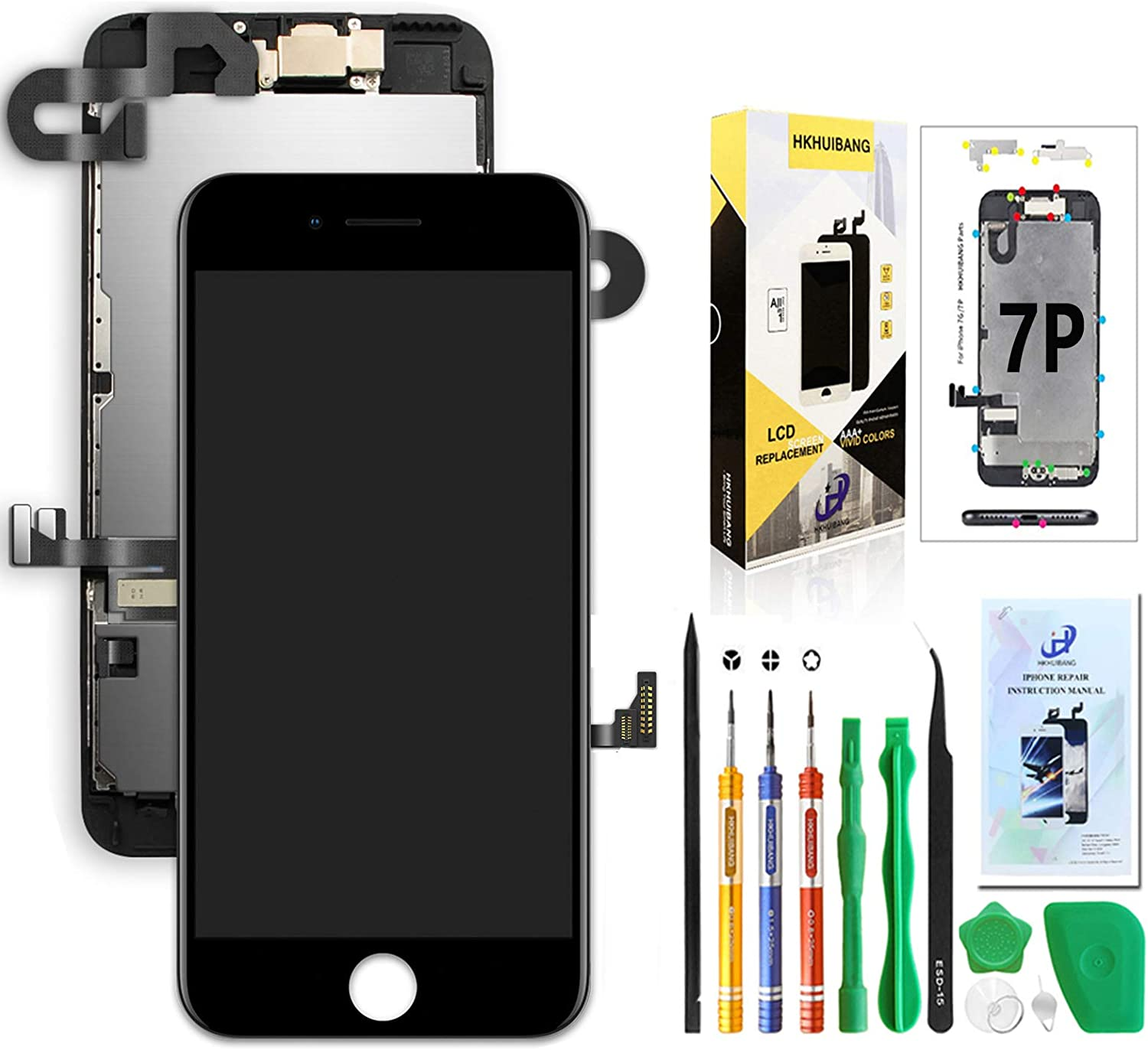 Compatible with iPhone 7 Plus Screen Replacement Black 5.5'',Hkhuibang Pre-Assembled LCD Display 3D Touch Digitizer Full Assembly with OEM Front Camera Proximity Sensor Ear Speaker Repair Tool