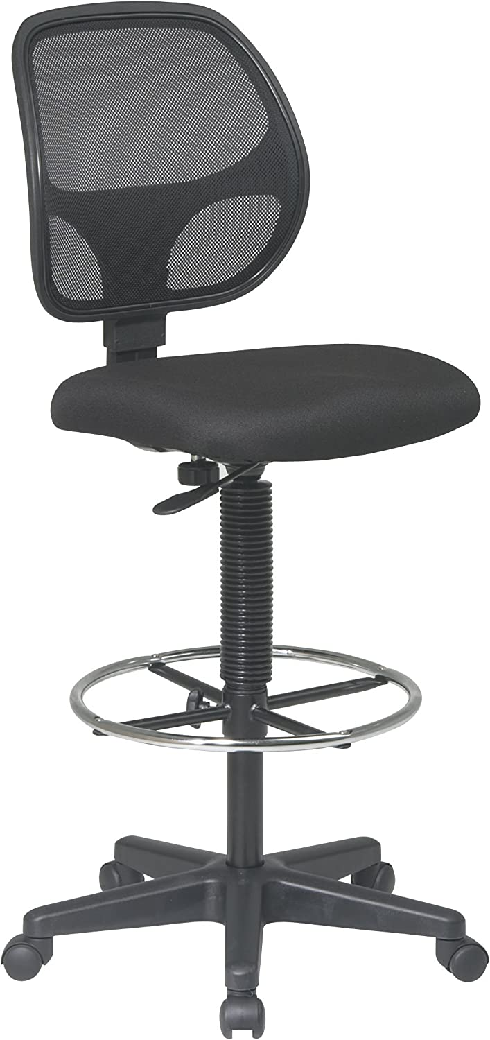 Office Star Deluxe Mesh Back Drafting Chair with 18.5 Diameter Adjustable Footring, Black Fabric Seat