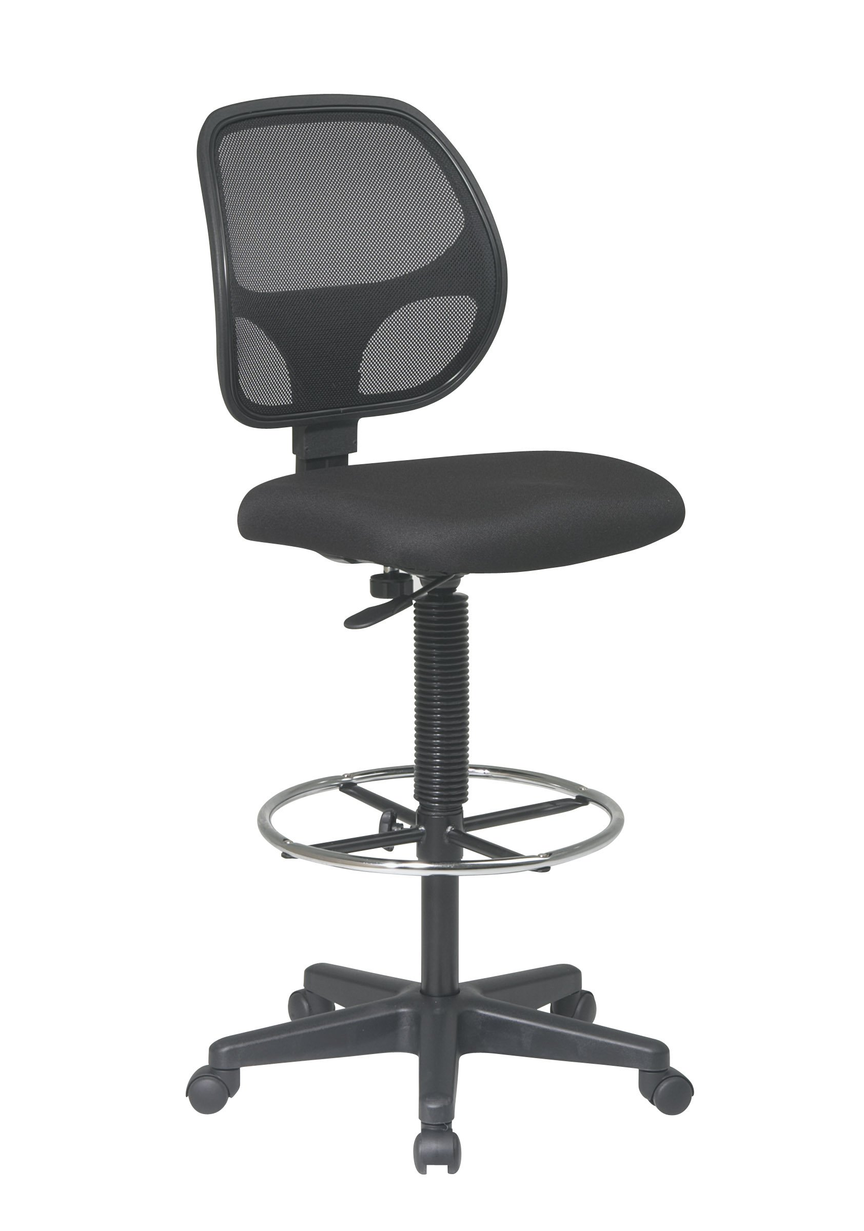 Office Star Deluxe Mesh Back Drafting Chair with 18.5'' Diameter Adjustable Footring, Black Fabric Seat by Office Star