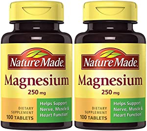 Nature Made Magnesium (Oxide) 250 mg, 100 Tablets (2 Bottles)