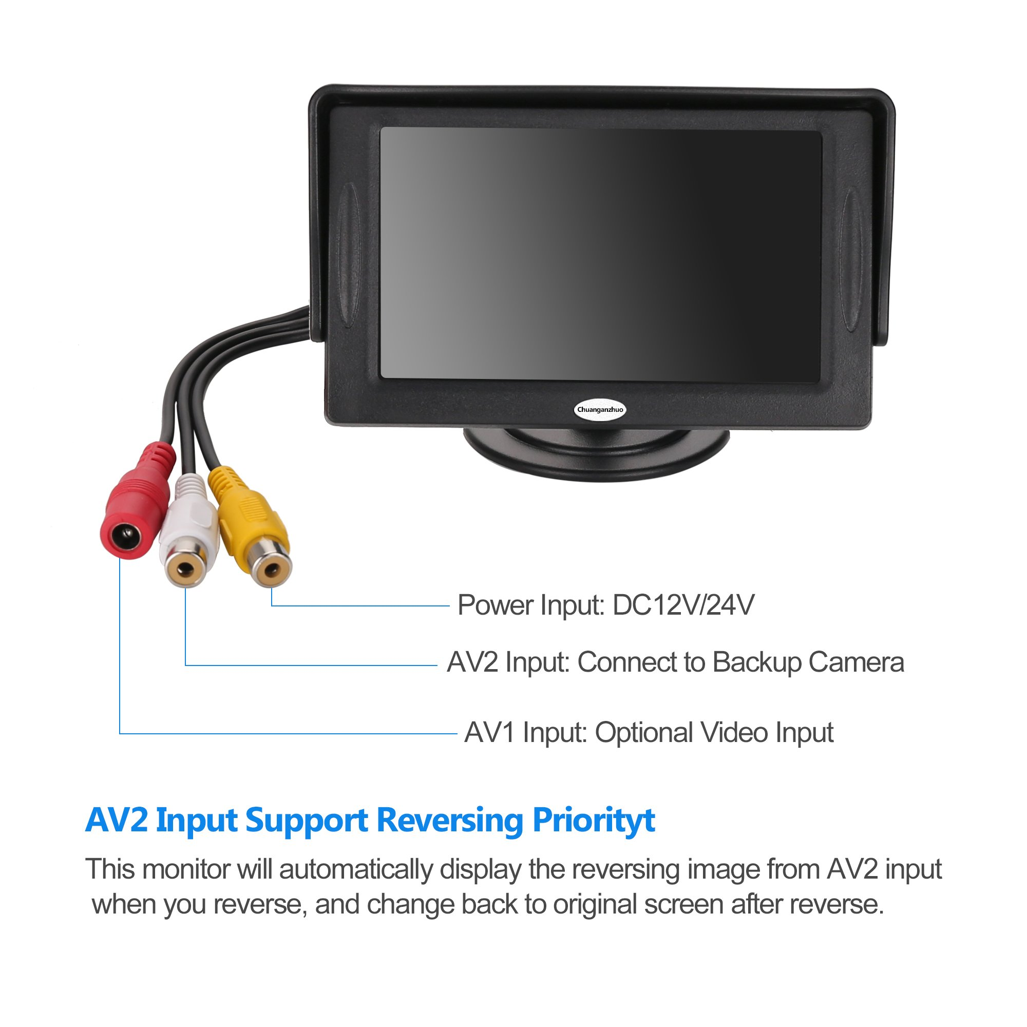 Backup Camera And Monitor Kit For Caruniversal Wired Waterproof Plcm18bc Wiring Diagram Rear View License Plate Car 43 Lcd N43cam A