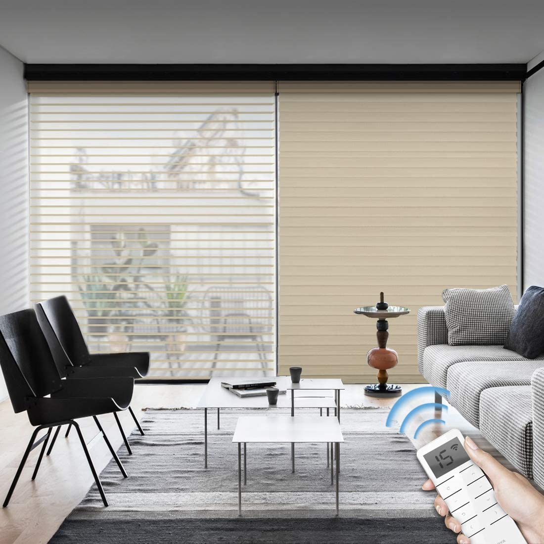 Graywind Motorized Light Filtering Cordless Shangrila Roller Blinds Remote Control Rechargeable Wireless Privacy Sheer Blind with Valance for Smart Home and Office, Customized Size (Coffee)