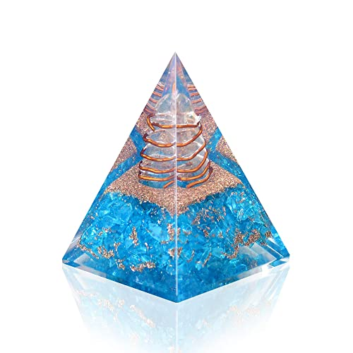 Orgone Pyramid Emotional Healing Aquamarine Nubian Orgonite Pyramid for Emf Protection Meditation Orgone Energy Generator – Anti Aging Crystal Yoga Self Relief