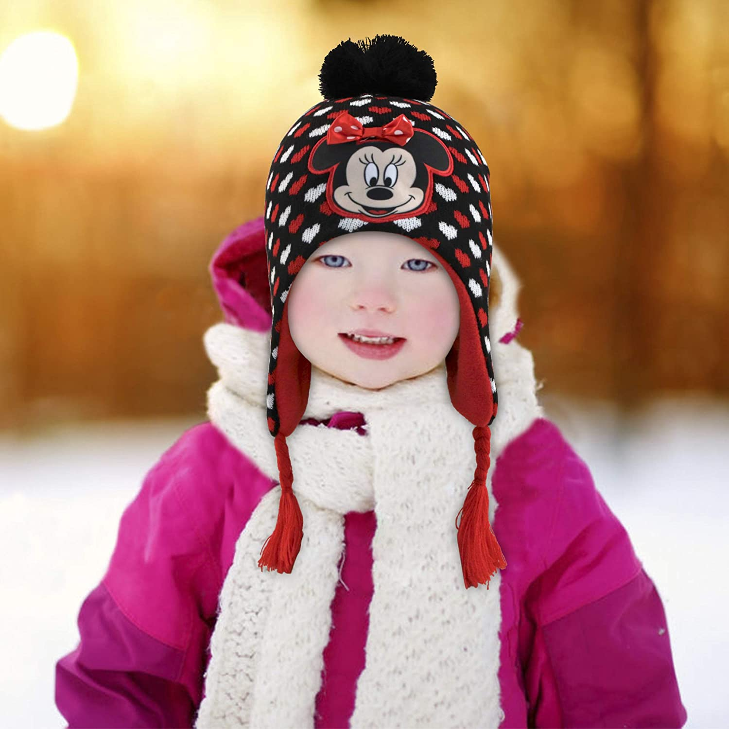 Disney Minnie Mouse Hat and Gloves Cold Weather Set Age 4-7 Little Girls