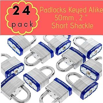 2 x KEYED ALIKE PADLOCK 50mm HEAVY DUTY LAMINATED STEEL PADLOCKS USE SAME KEYS